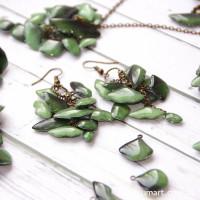 Серьги Зеленые Гинкго