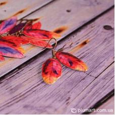 Мини-серьги Яркие листья
